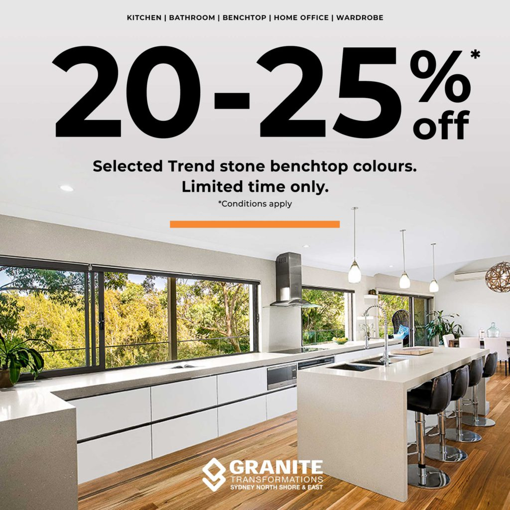 20-25% off Selected Trend stone benchtop colours