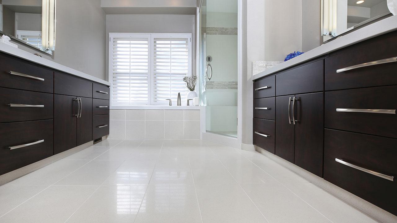New Bathroom installation white vanity dark timber