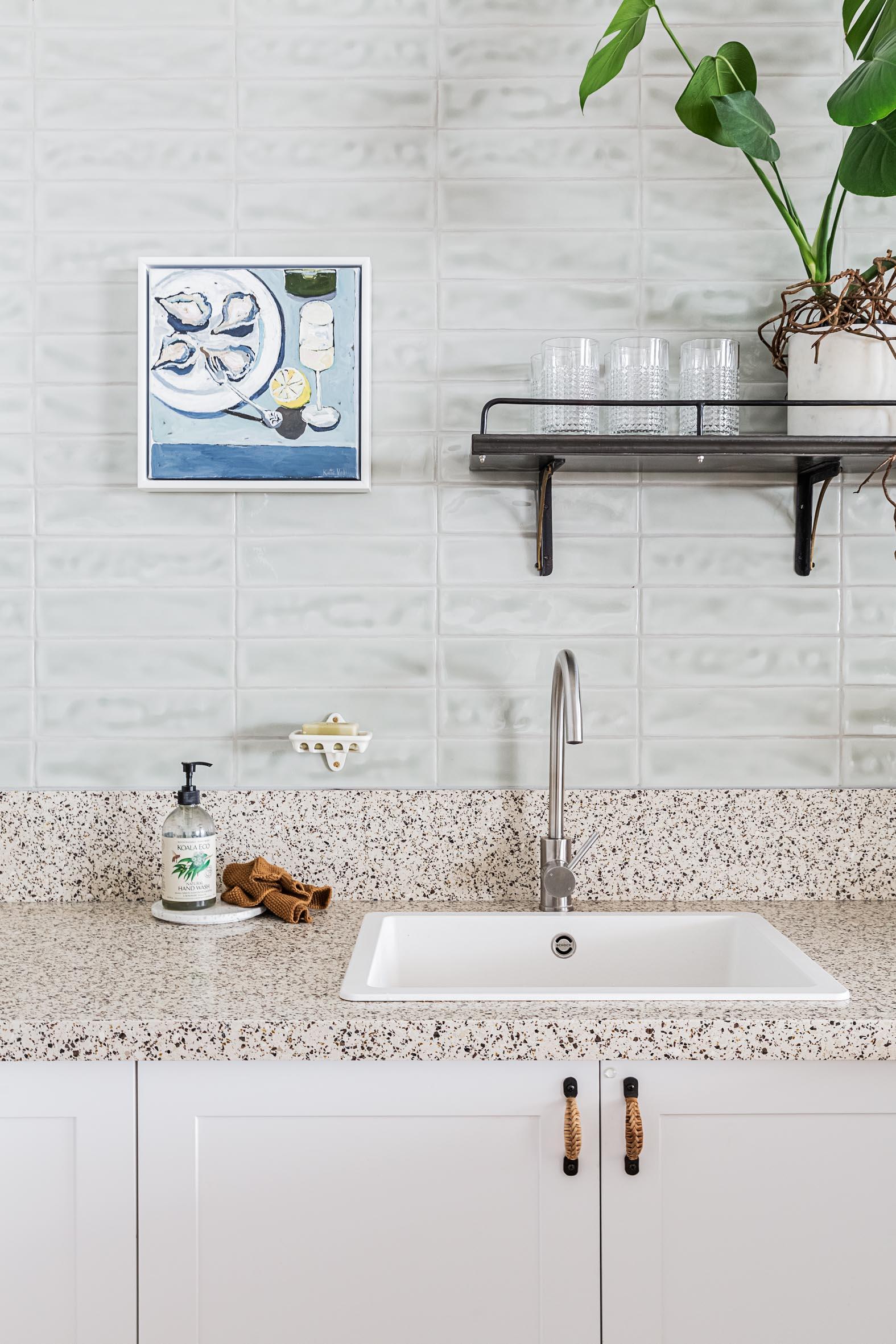 White kitchen sink with granite benchtop resurfacing Northern Beaches