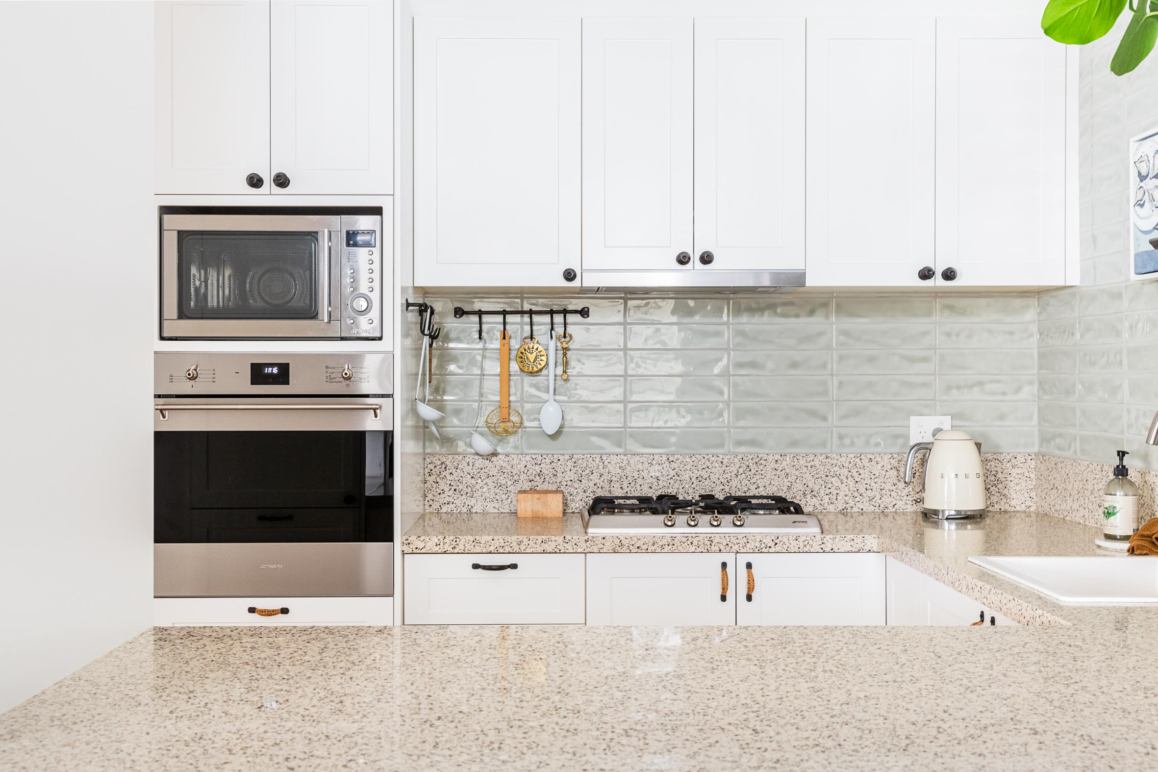 White kitchen cabinet door and grantite benchtop resurfacing Northern Beaches